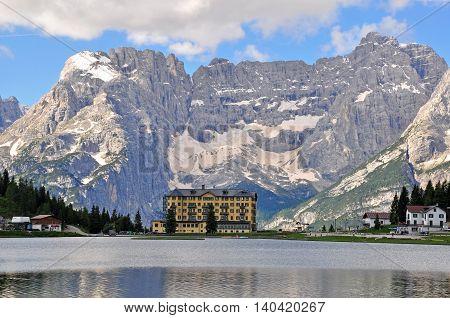 Misurina lake in Veneto province in Italy