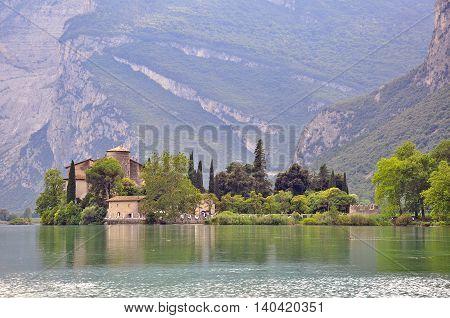 Toblino castle in Dolomites Alps in Italy