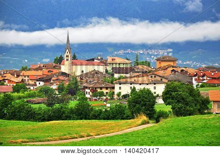 View of Smarano old town in Dolomites Trentino Alto Italy