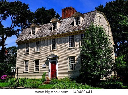 Newport Rhode Island- July 17 2015: Pitt's Head Tavern built prior to 1724 was used as a colonial coffee house starting in 1759