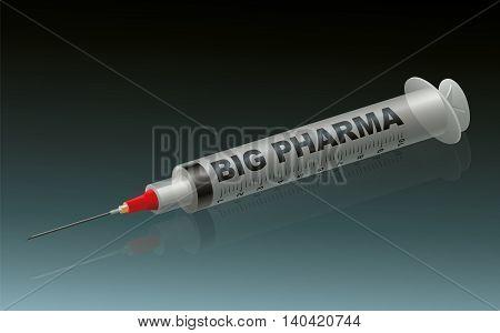BIG PHARMA - labeled syringe on green background.