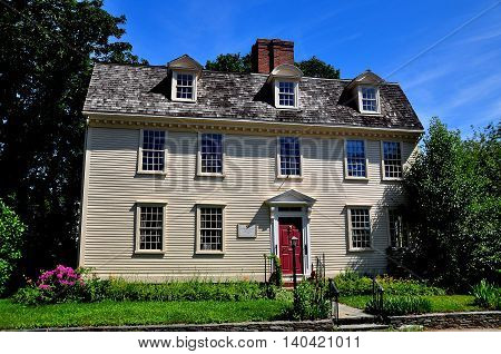 Newport Rhode Island - July 17 2015: Pitt's Head Tavern built prior to 1724 was used as a colonial coffee house starting in 1759  *