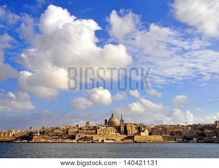 VALLETTA MALTA - FEBRUARY 22: Valletta cityscape on February 22 2014. Valletta is a capital and the largest city of Malta.