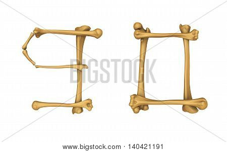 3D illustration of Skeleton alphabet number 9 and 0 isolated on white background