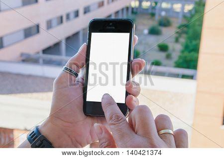 Woman Touching A Mobile Phone Blank Screen