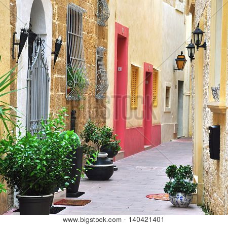 Typical patio in Mdina old town, Malta