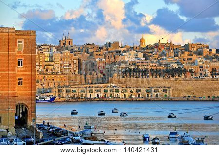 VALLETTA MALTA - FEBRUARY 24: Panorama of Valletta old town on February 24 2014. Valletta is a capital and the largest city of Malta.