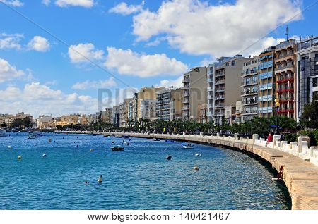 Seafront of Sliema city the main touristic resort in Malta