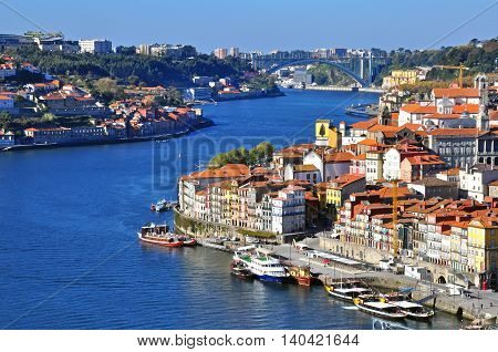 PORTO PORTUGAL - NOVEMBER 27: Panoramic view of Porto city centre on November 27 2013. Porto is one of the oldest European centers and the second largest city of Portugal.