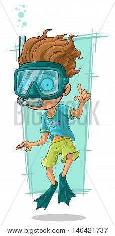 A vector illustration of cartoon diver with swimming mask