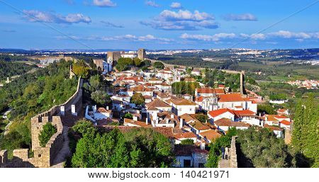 Panorama of Obidos beautiful village in Portugal