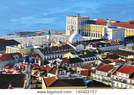 Panorama of Lisbon downtown from the viewpoint