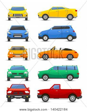 Different car vehicle type design sign technology style vector. Generic car different design flat vector illustration isolated on white. Pickup, sedan, bus and other car vehicle
