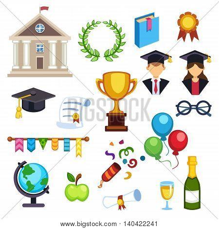 Education school graduation icons set on white background. Graduation education university school college cap student symbols. Vector graduation education success diploma academic symbols.