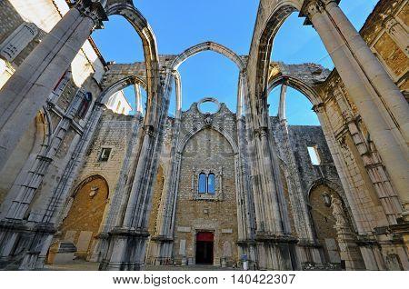 Ruins of Igreja do Carmo in Lisbon