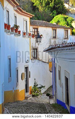 Beautiful street of Obidos village in Portugal