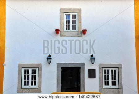 Typical house of Obidos old town, Portugal