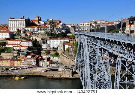 Porto skyline and bridge of Dom Luis Portugal.
