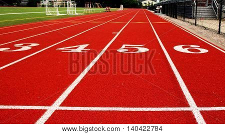 Looking down the track from the start line. This is the view that a person racing the 100 meter would see.