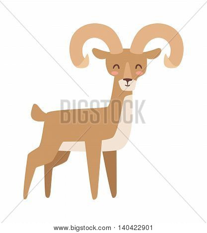 Mountain deer wildlife male nation animal vector illustration. Bull elk with large antlers standing edge forest, calling mountain deer. Mountain deer forest wilderness environment animal.