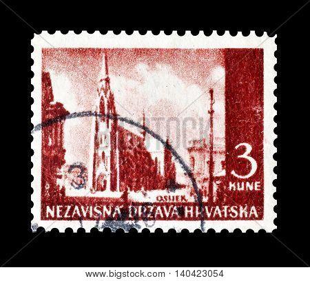 CROATIA - CIRCA 1941 : Cancelled postage stamp printed by Croatia, that shows Osijek.