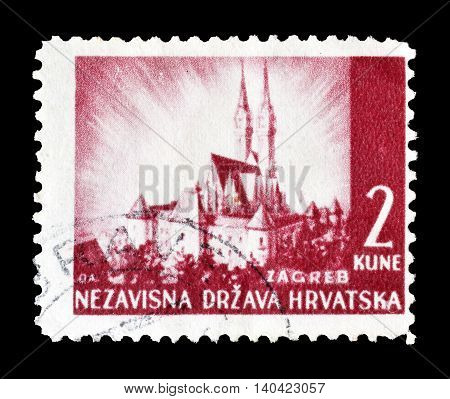 CROATIA - CIRCA 1941 : Cancelled postage stamp printed by Croatia, that shows Zagreb.