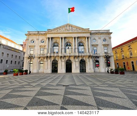 LISBON PORTUGAL - DECEMBER 21: Cityhall building on the square of Municipio in Lisbon on december 21 2013. Lisbon is a capital and the largest city of Portugal.