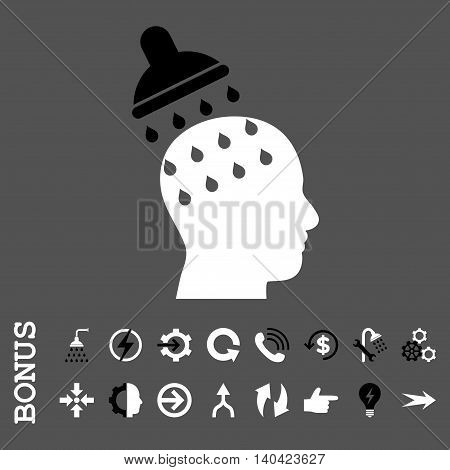 Brain Washing glyph bicolor icon. Image style is a flat iconic symbol, black and white colors, gray background.