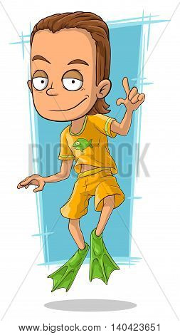 A vector illustration of cartoon handsome man in green flippers