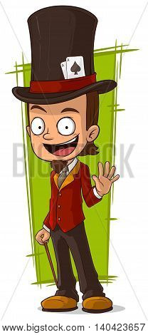 A vector illustration of cartoon happy illusionist in high-hat