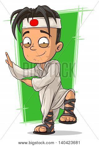 A vector illustration of cartoon kung fu boy in white kimono