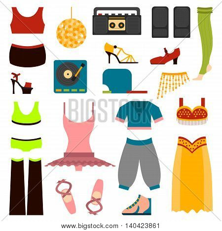Vector design of woman performing classical dance clothes and folk dance clothes. Beautiful dancer performance style dance clothes and traditional dress lady exercise dance clothes.