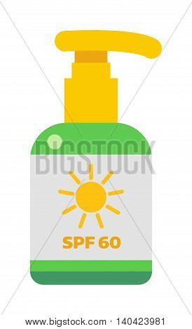 Cream sunscreen bottle isolated on white background and sunscreen cream bottle vector icon. Sunblock cosmetic summer container sunscreen cream bottle tube packaging design sunscreen cream bottle