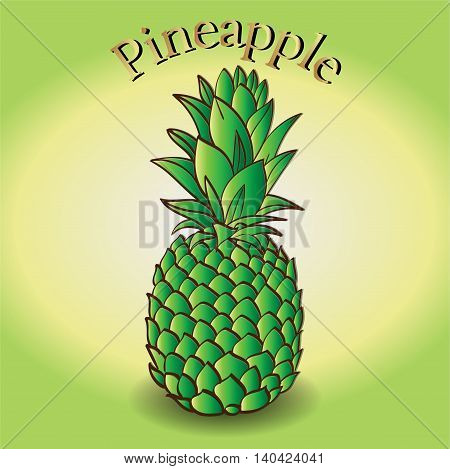 Pineapple with Yellow and green gradient background with a shadow under pineapple