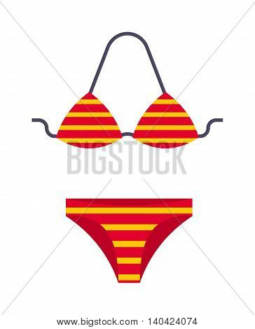 Female swimsuit isolated on white background and flat vector swimsuit isolated. Swimwear sexy sensual bikini swimsuit isolated and fashion swimsuit isolated cloth. Fashion vacation accessory.
