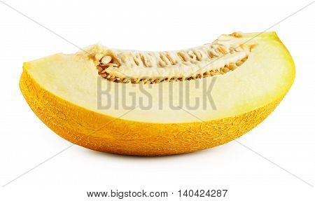 Melon slice with seeds isolated on white background