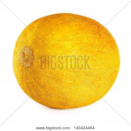 Ripe yellow delicious melon isolated on white background