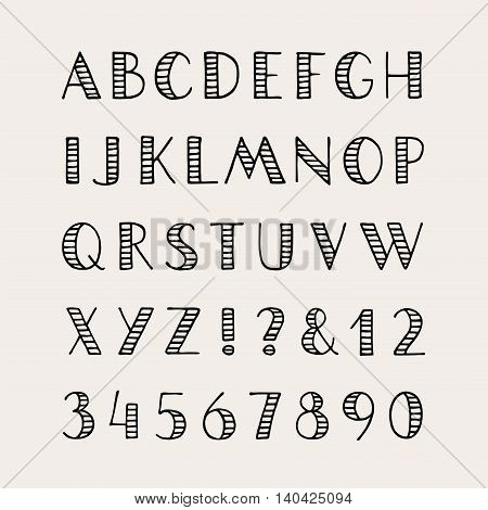 Hand drawn striped font. Capital letters and numbers. Vector alphabet