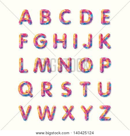 Polygonal alphabet, faceted capital letters. Colorful mosaic of triangles