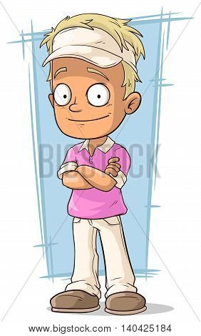 A vector illustration of cartoon pretty blond guy in tennis cap