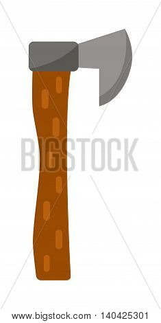 Axe steel isolated lumberjack and sharp lumberjack axe cartoon weapon icon isolated on white and wooden axe cartoon flat icon of handle wood work equipment vector illustration. Lumberjack axe