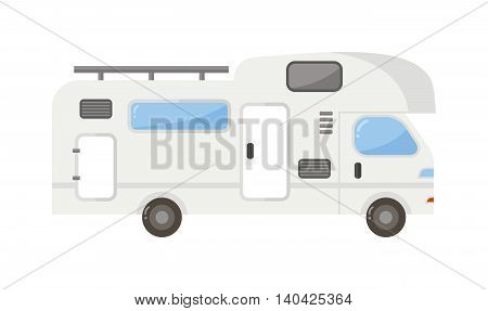 Travel camping trailer car house isolated, Nature holiday trailer house concept. Trailer house van truck vector and trailer house mobile car park caravan. Trailer house travel camper truck vehicle.
