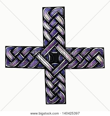 abstract illustration of a Celtic cross painted handle