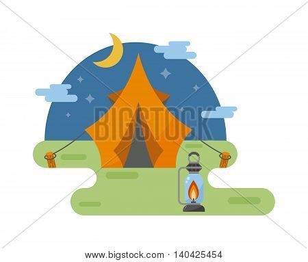Forest camping vector concept with tourist outdoor night view tent. Outdoor tent summer nature leisure and activity camping outdoor tent. Forest sport landscape campsite outdoor tent on green grass wilderness.
