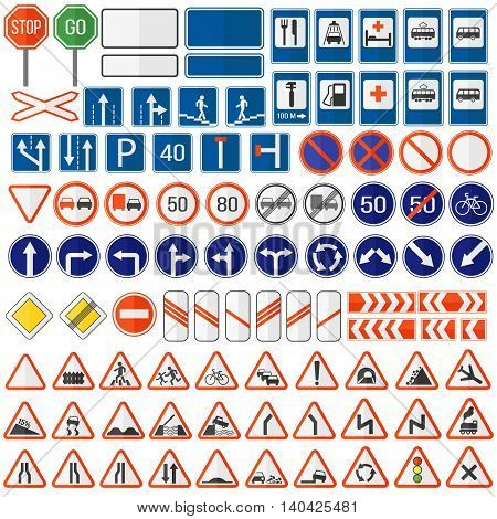 Different highly detailed and fully editable vector traffic road sign collection. Set of road sign collection warning, priority, prohibitory symbol. Road sign european and american style design vector