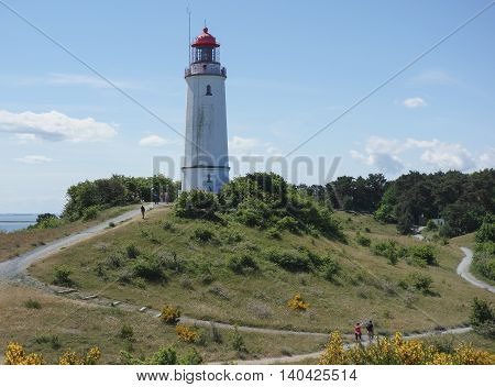 HIDDENSEE GERMANY - JUNE 9 2016: Dornbusch Lighthouse on Hiddensee island Germany