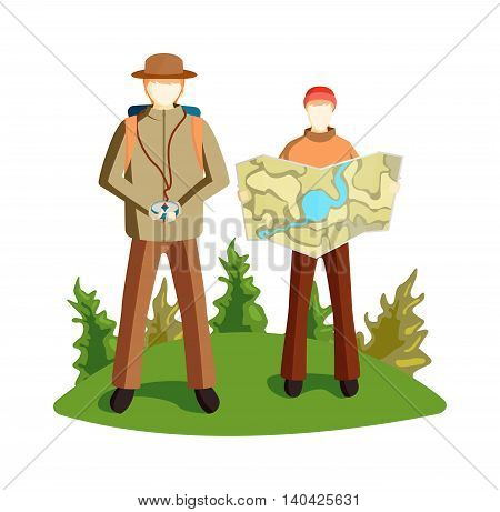 Concept of tourists couple with GPS icons map terrain orientation. Navigation on mountains terrain orientation. Global positioning system terrain orientation. Characters tourist with map camping.