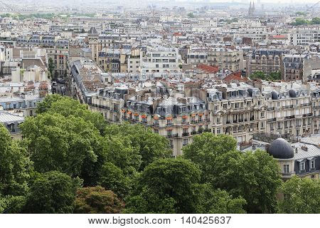 PARIS, FRANCE - MAY 12, 2015: It is aerial view of a typical Parisian city block in downtown.
