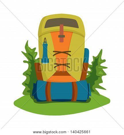 Vector flat modern hiking travel backpack stylish camping and mountain exploring bag. Travel mountain exploring backpack and travel backpack tourist bag. Travel mountain backpack.