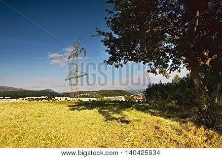 pylon and big tree in the foreground on the top of Bystricky vrch hill near the town Kadan in czeh republic morning at sunrise